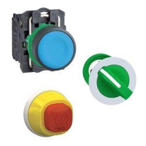 Boutons et voyants à collerette plastique ronde et carrée, Ø 22 mm.